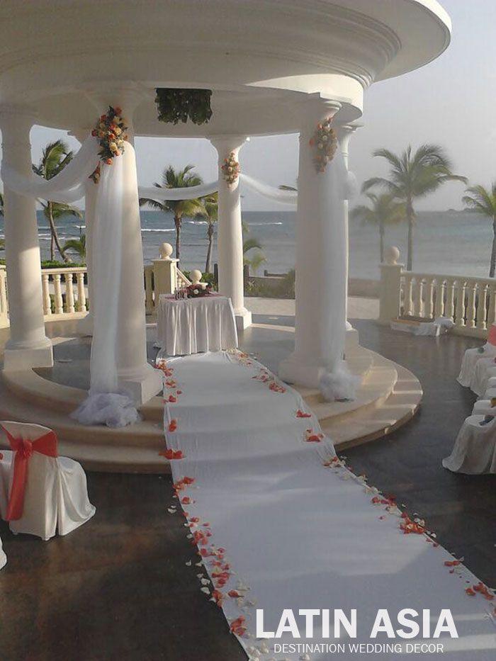 Gazebo Coral Pink Ivory Aile Petals Decor Weddingcancun