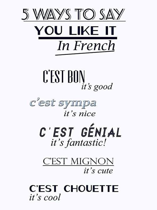 A Lora Weaver cheat sheet to learning French. Five ways to say you like…