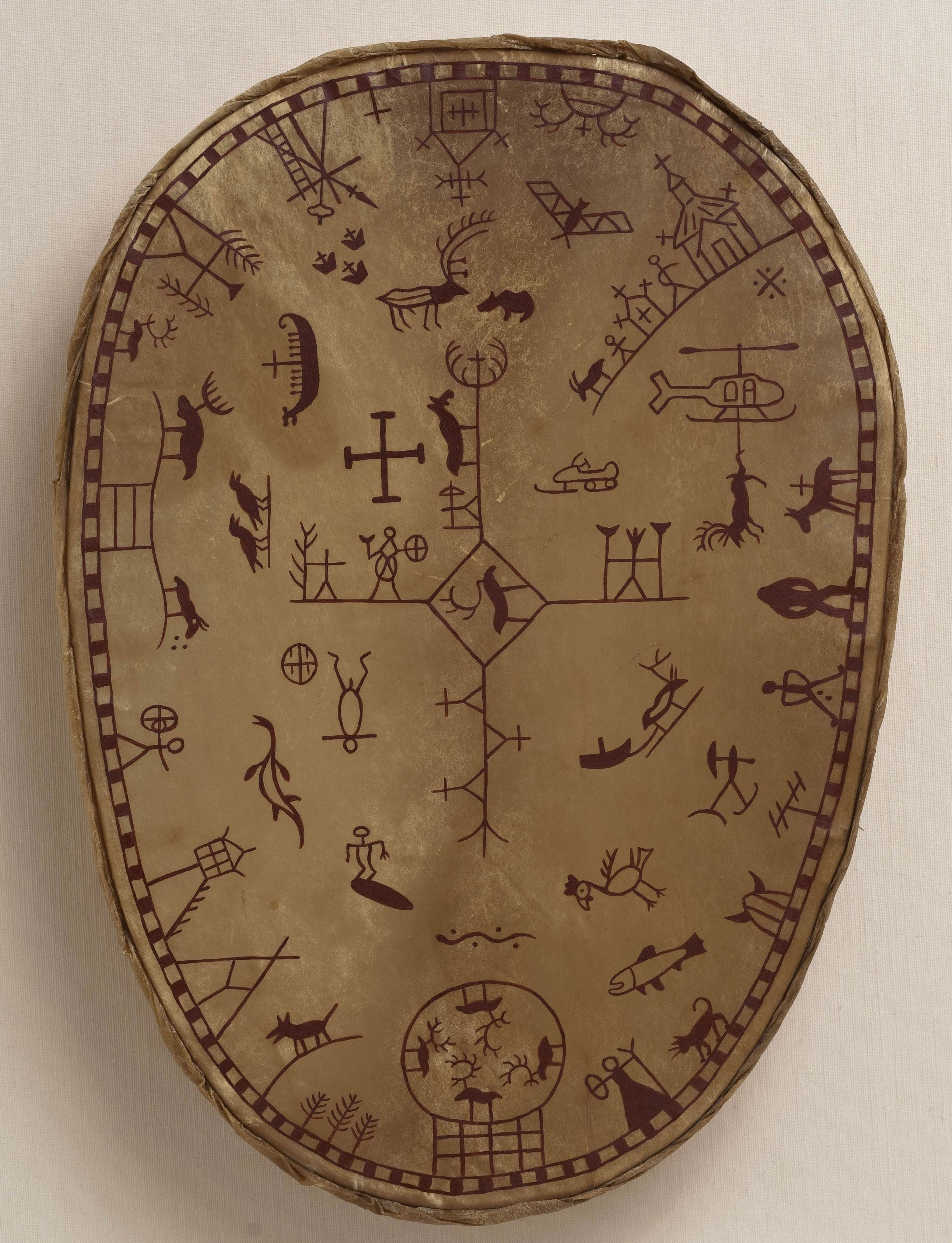 Saami shaman's drum made by Californian artist Jeffrey Vallance under the direction of a Swedish craftsman of shamanic descent.