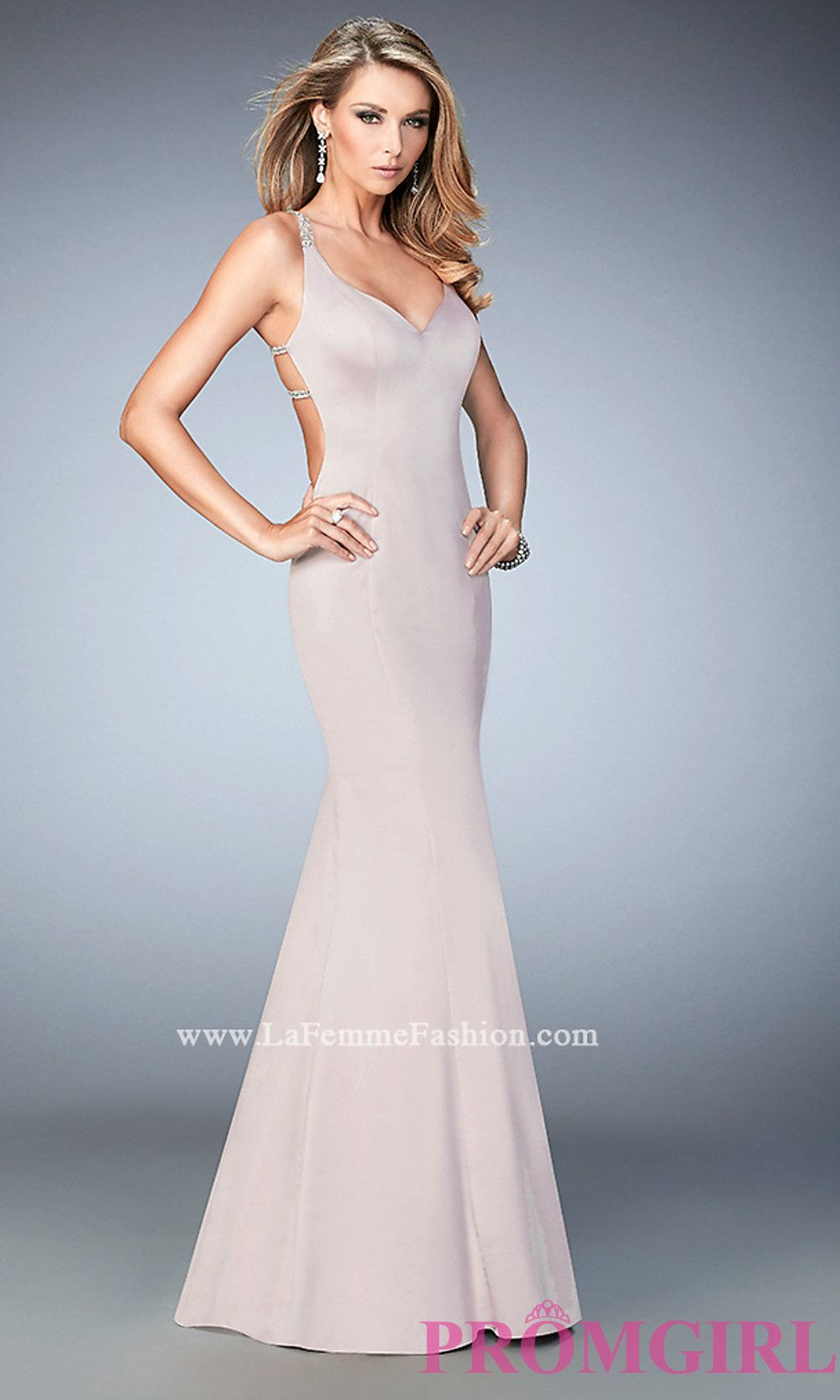 Vneck long open back la femme dress style lf homecoming