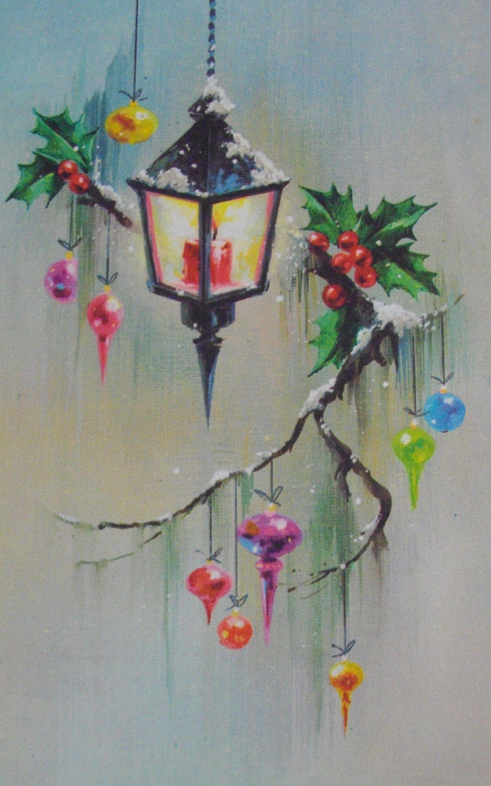 Cute vintage lantern Christmas card