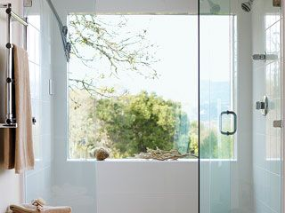 Captivating The Large Window And Glass Shower Stall Doors Preserve The Vineyard  Panoramas. Plain White Tile Gives The Shower A Fresh Look Without  Detracting From The ...