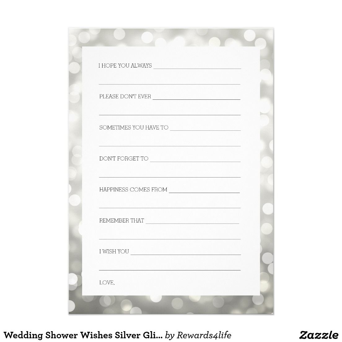 Wedding Shower Wishes Silver Glitter Lights Invitation Silver