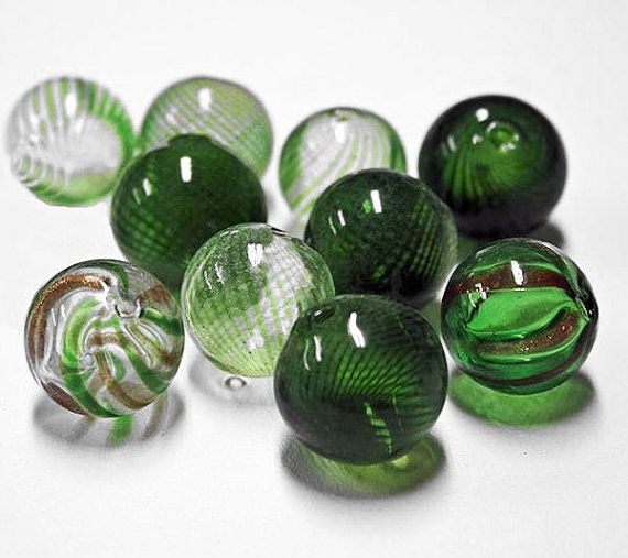4 Hand Blown Glass Beads Assorted Greens  20mm by BohemianFindings, $3.95