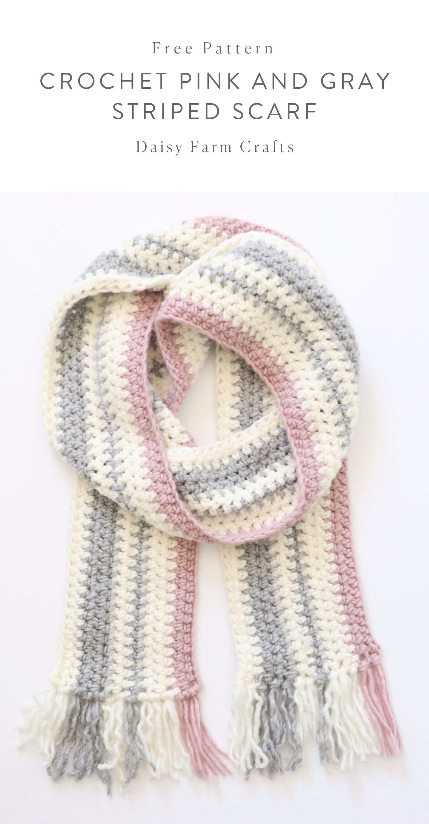 Free Pattern - Crochet Pink and Gray Striped Scarf #crochet ...