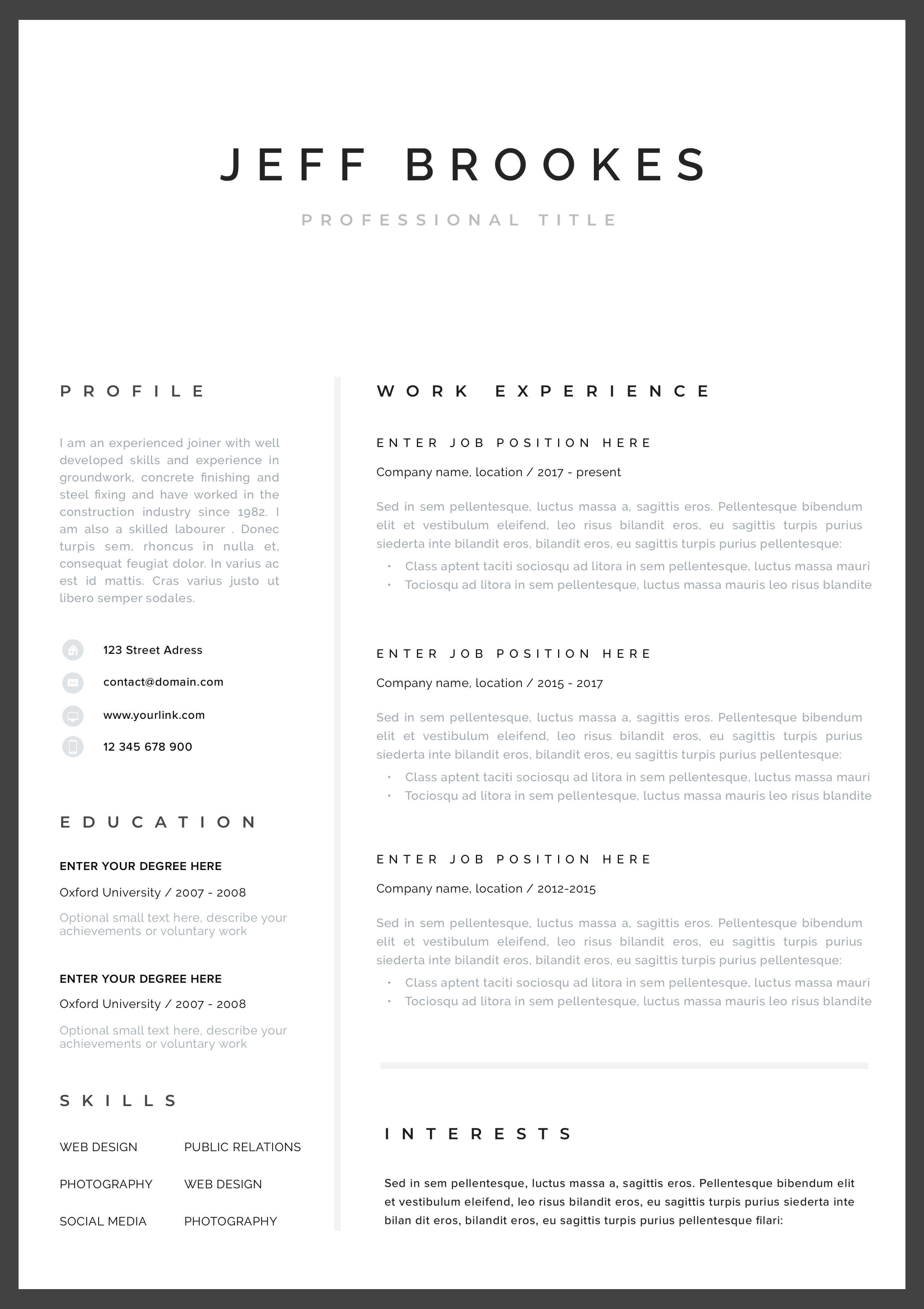 modern resume template cv template, cover letter headline for marketing school leaver south africa sales specialist