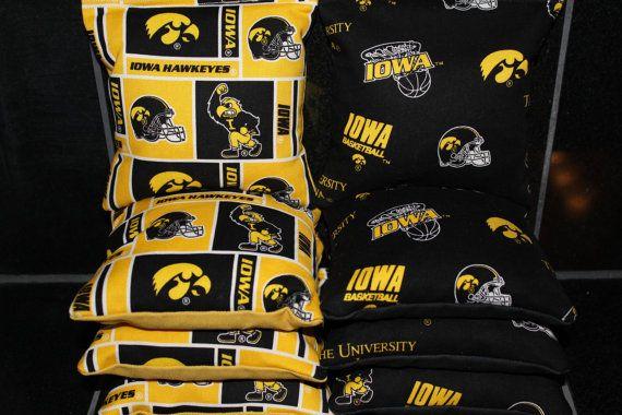 IOWA HAWKEYES Cornhole Bags 8 Corn Hole Bean Bags ACA by lots2ofr2, $22.99