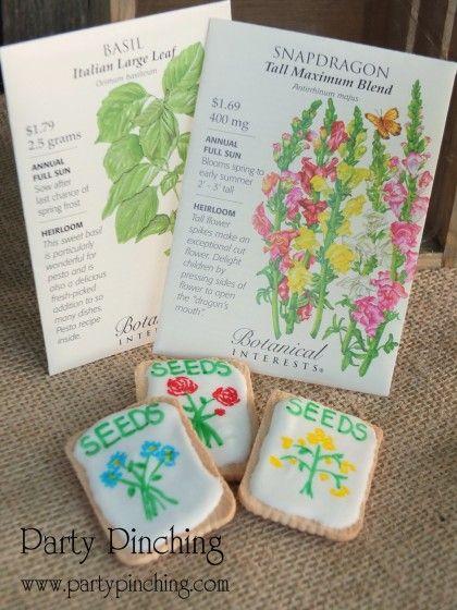 seed packet cookies, flower cookies, garden cookies
