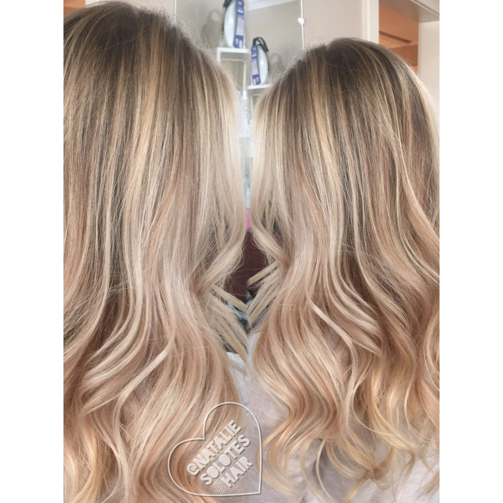 Behind the chair hair color - Rose Gold Blonde Soft Baby Fine Highlights Babylights Balayage Gorgeous Long Hair Natural Looking Behind The
