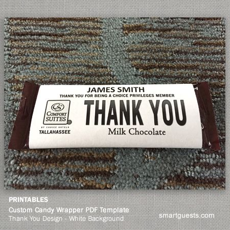 Custom Candy Bar Wrapper PDF Template Print At Hotel Print Candy