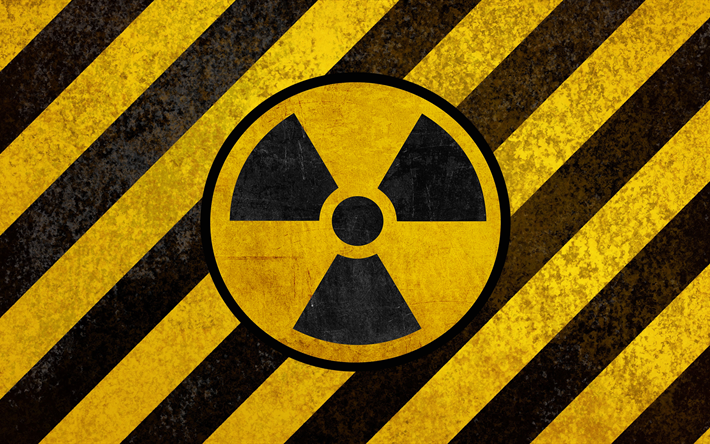 Download Wallpapers Sign Of Radiation Hazard Symbols 4k Yellow
