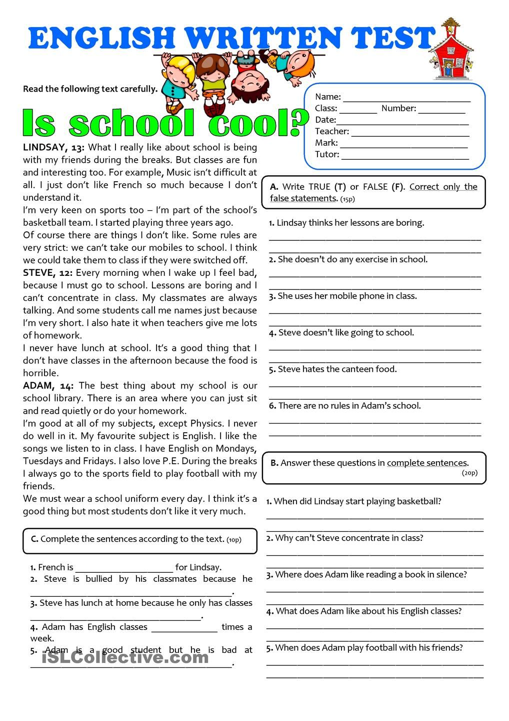 IS SCHOOL COOL? - 7th grade TEST | Exercise sheet ...