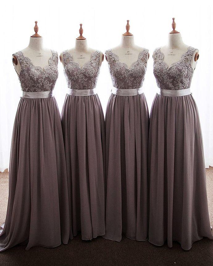 d531d242ae68 Long Blush Chiffon and Lace Bridesmaid Dress TBQP227