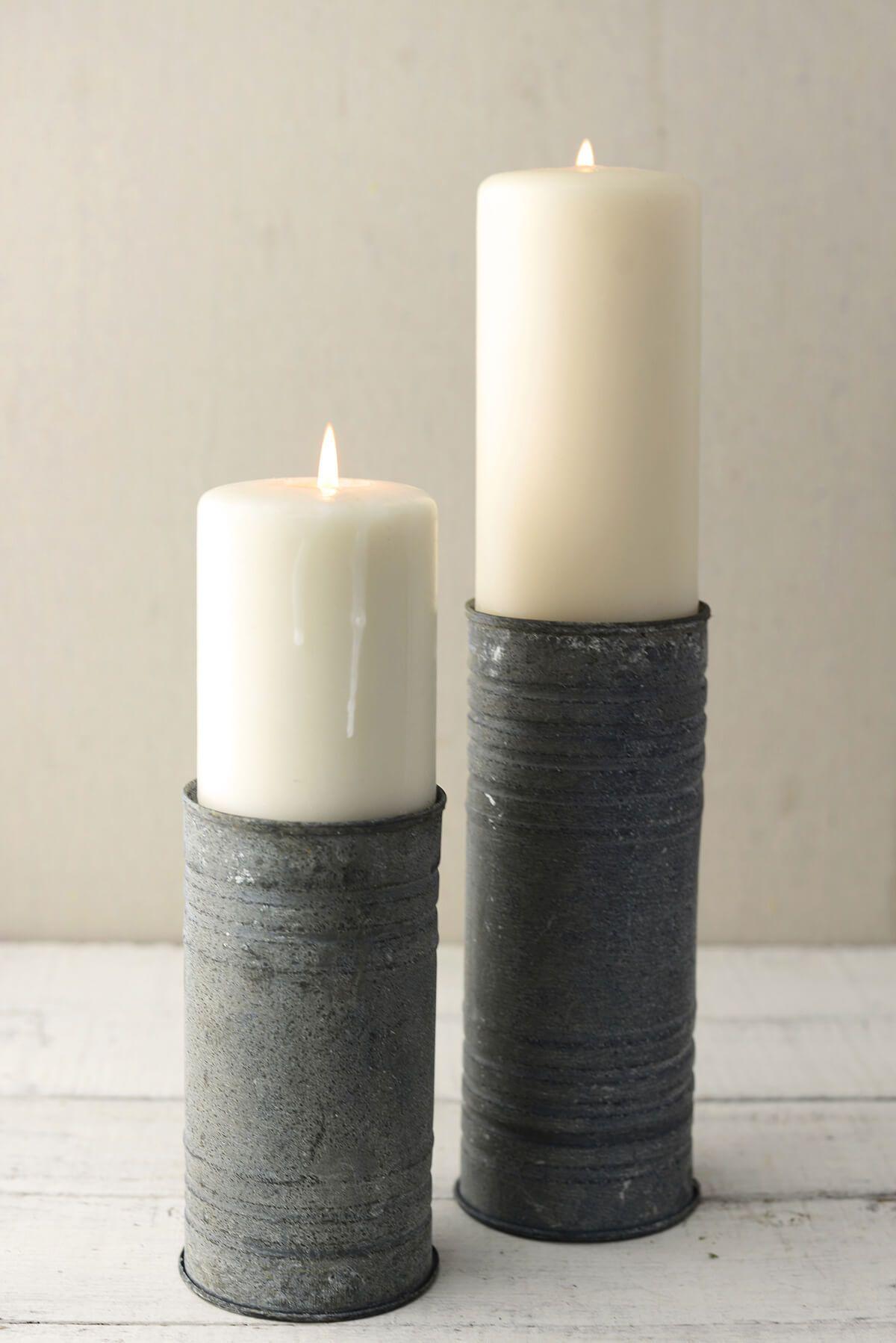 Zinc Cylinder Vase & Pillar Candle Holder