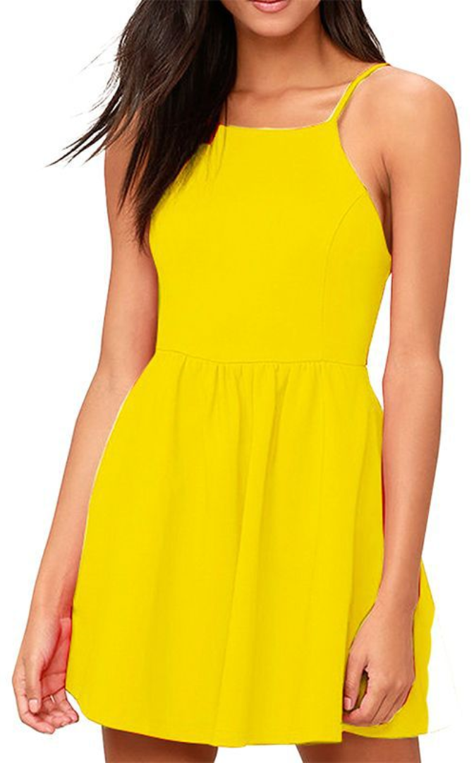 23a7f8e3a9b Yellow Backless Cami Skater Dress