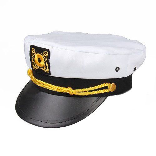 Adult Yacht Cap Captain s Hat - White w  Black Bill  amp  Gold Braiding  Glitz dfb8bb1f5518