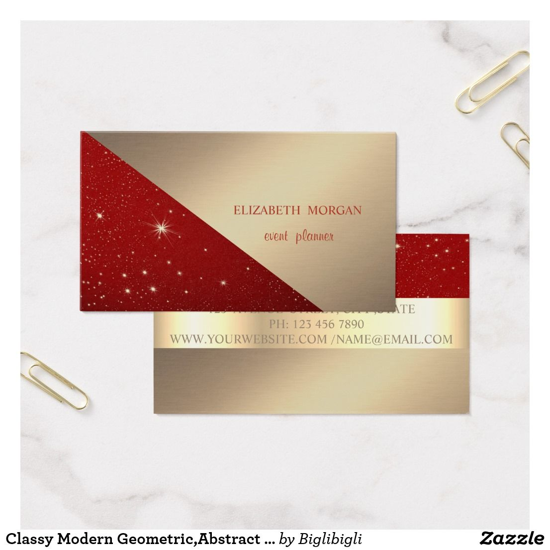 Classy Modern Geometric Abstract Faux Gold Red Business Card