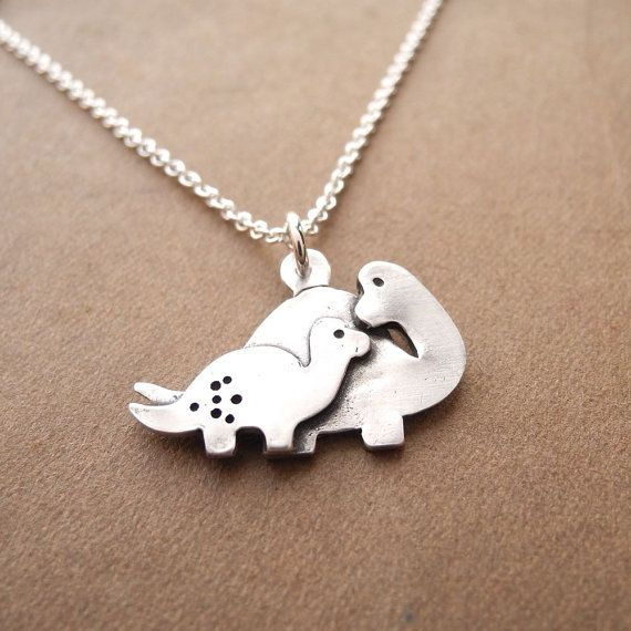 e732fa3eba7 Mother and Baby Dinosaur Necklace, New Mom Necklace, Fine Silver, Sterling  Silver Chain