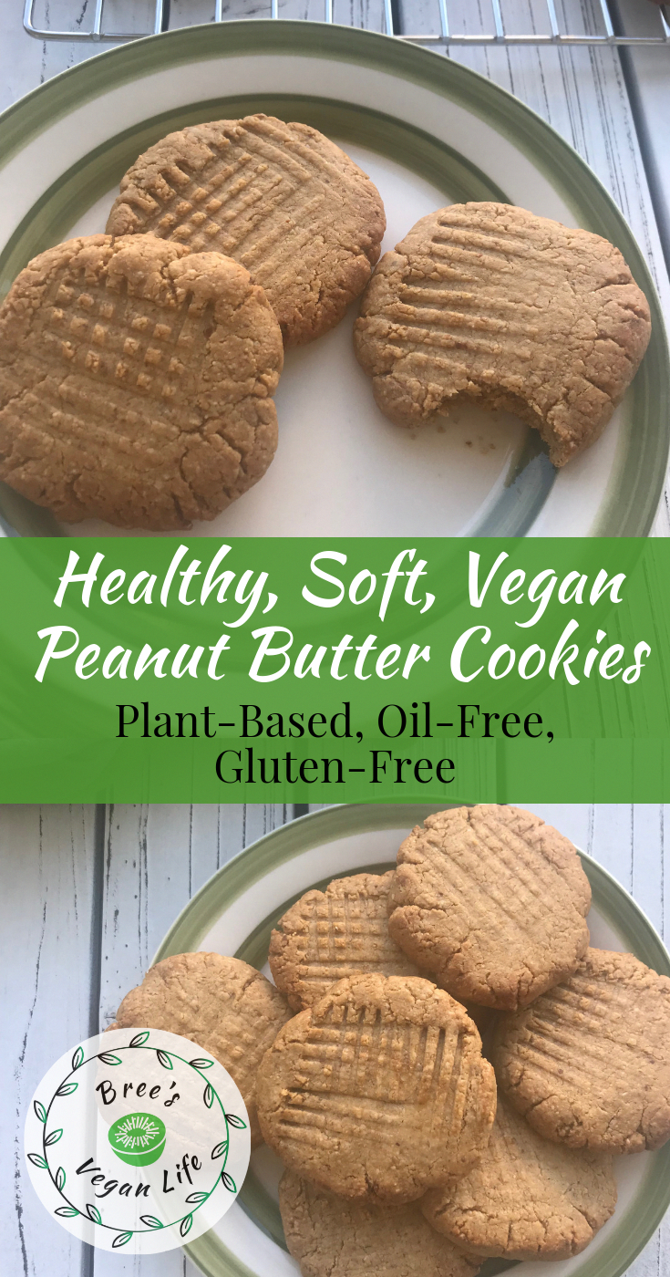 These vegan peanut butter cookies are the best! They are completely plant-based, healthy, and easy to make. They're also gluten-free and sweetened with pure maple sugar. No refined sugar! #breesveganlife #veganpeanutbuttercookies #vegancookies #plantbasedrecipes #vegandessert