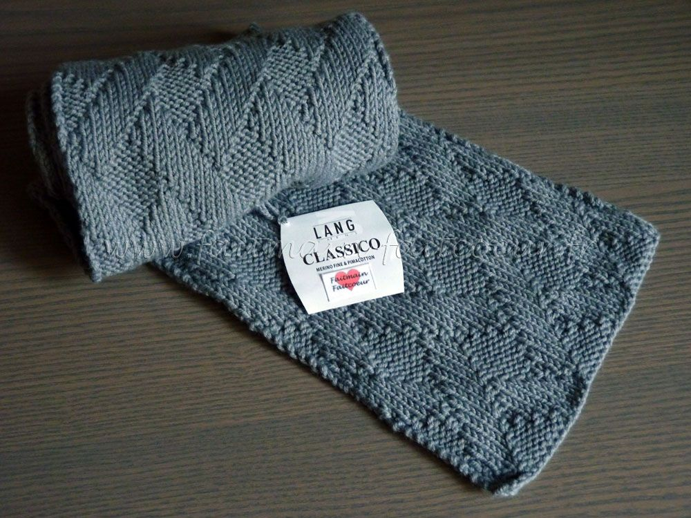 Patron écharpe homme motif tressage (basket weave man scarf pattern ...