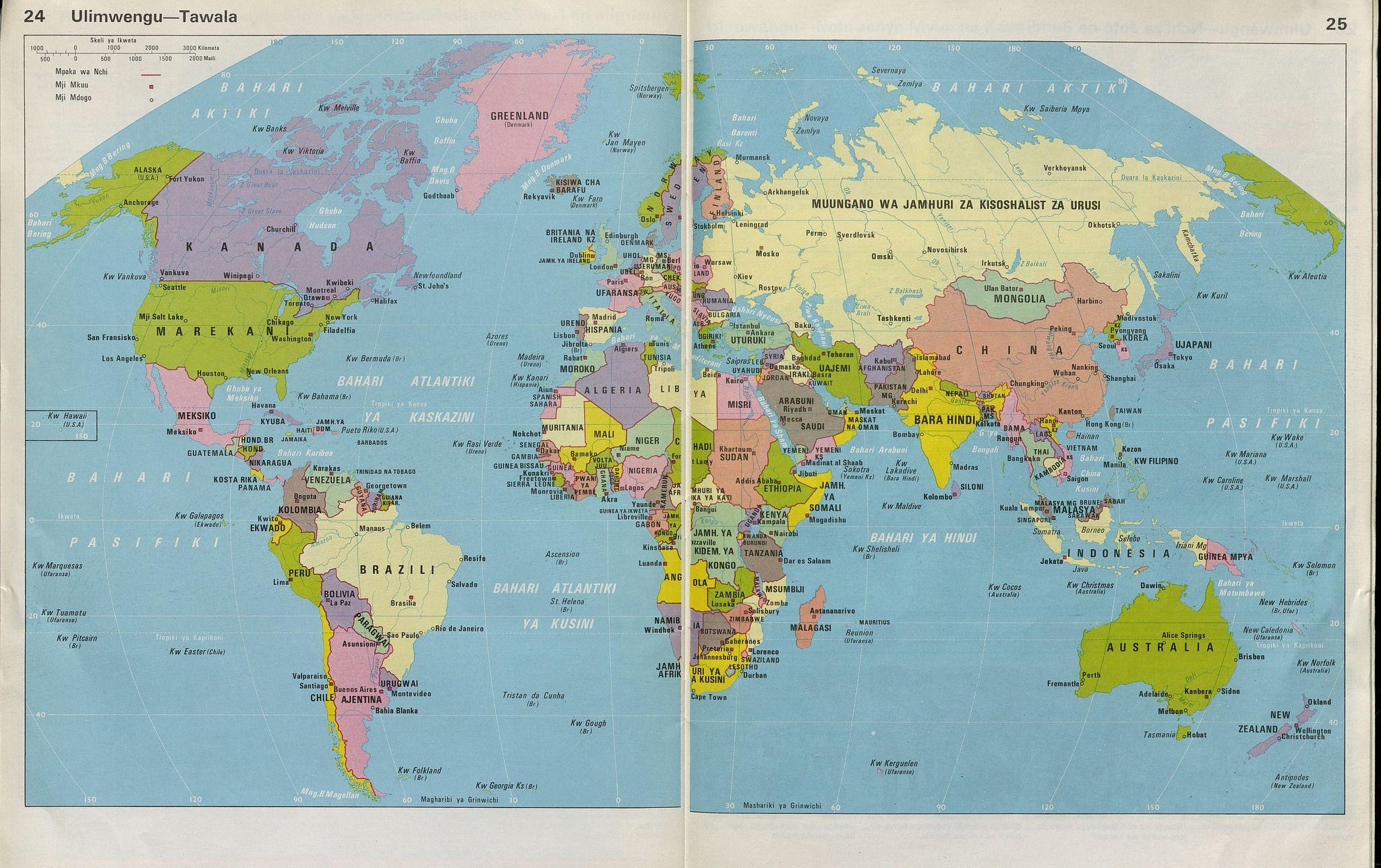 World map in Swahili map swahili Interesting maps