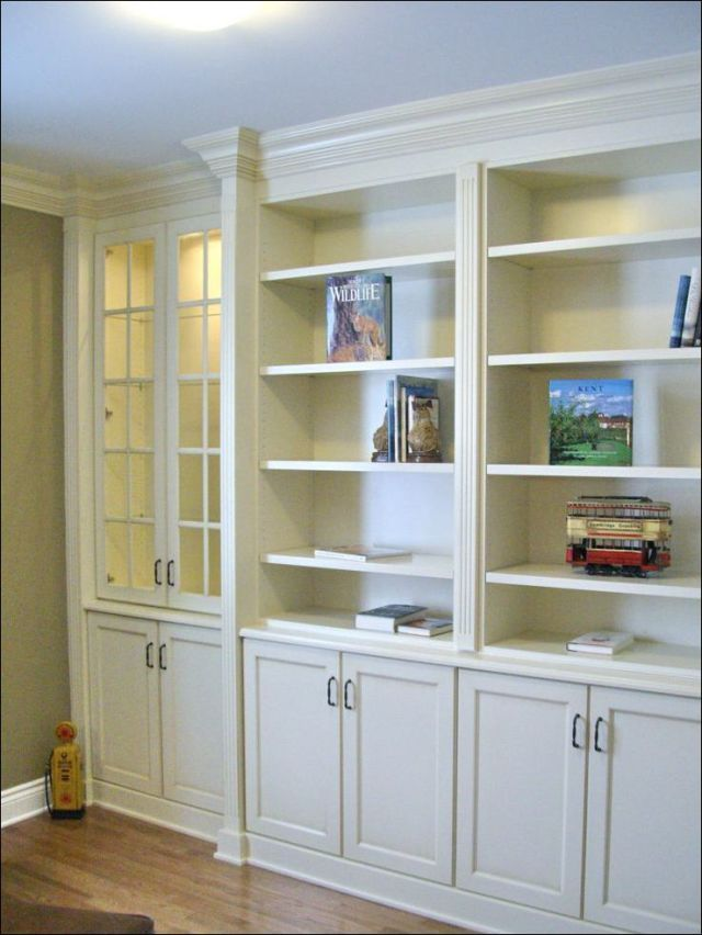 Built In Bookshelves With Cabinet Below