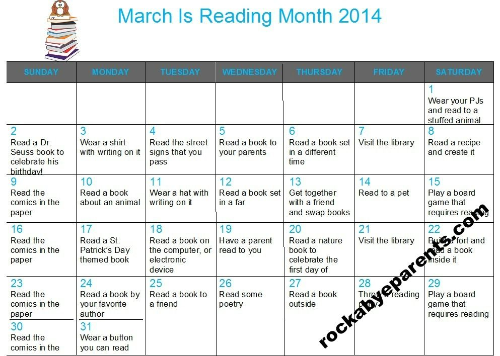 March Calendar Ideas : March is reading month activity calendar
