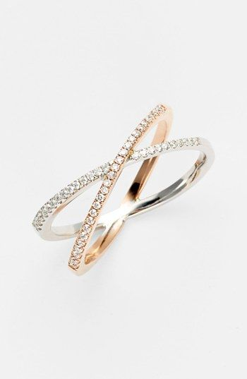 Crossover ring with diamonds and white gold rose gold Ba Da