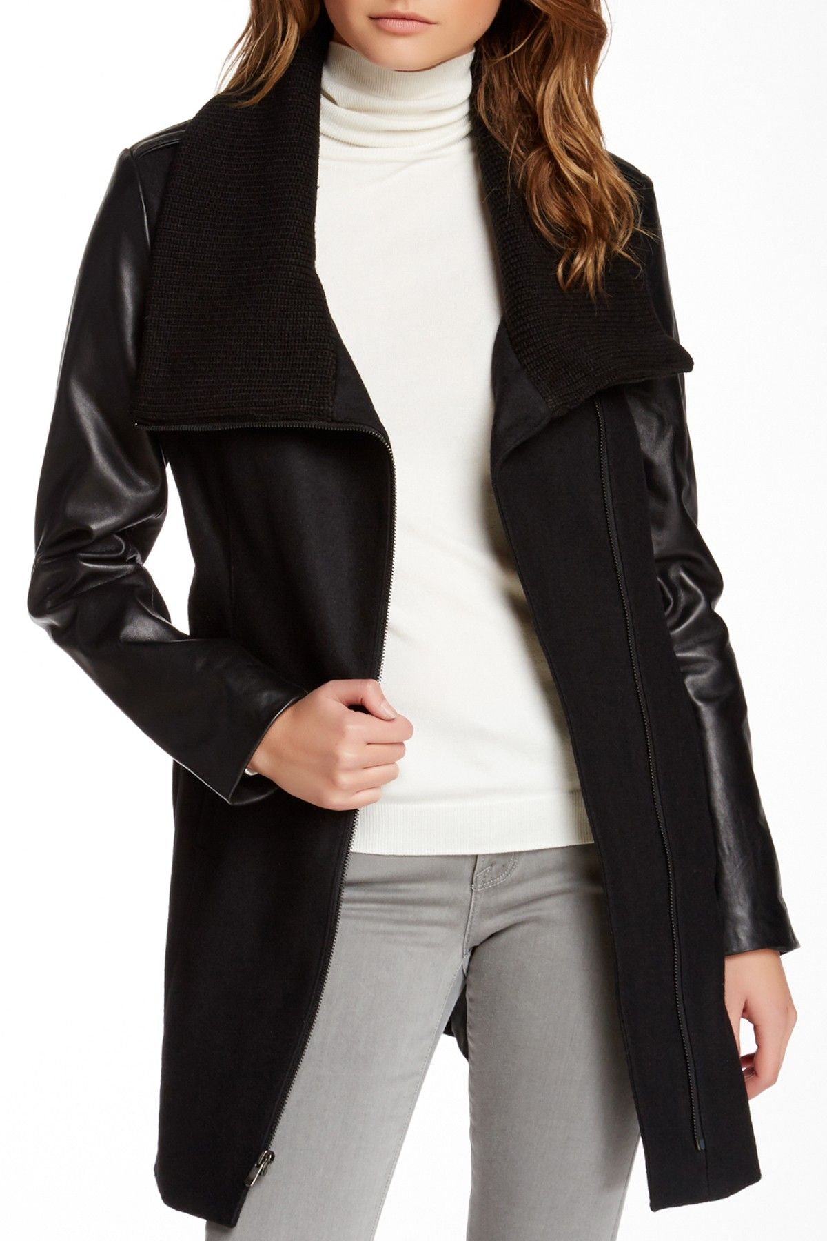 Truth Of Touch - Mercer Leather Sleeve Wool Blend Coat at Nordstrom Rack. Free Shipping on orders over $100.