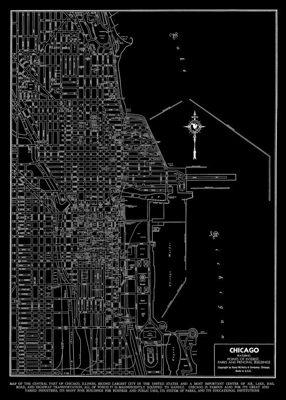 1927 Chicago Street Map Vintage Black and White by TheMapShop