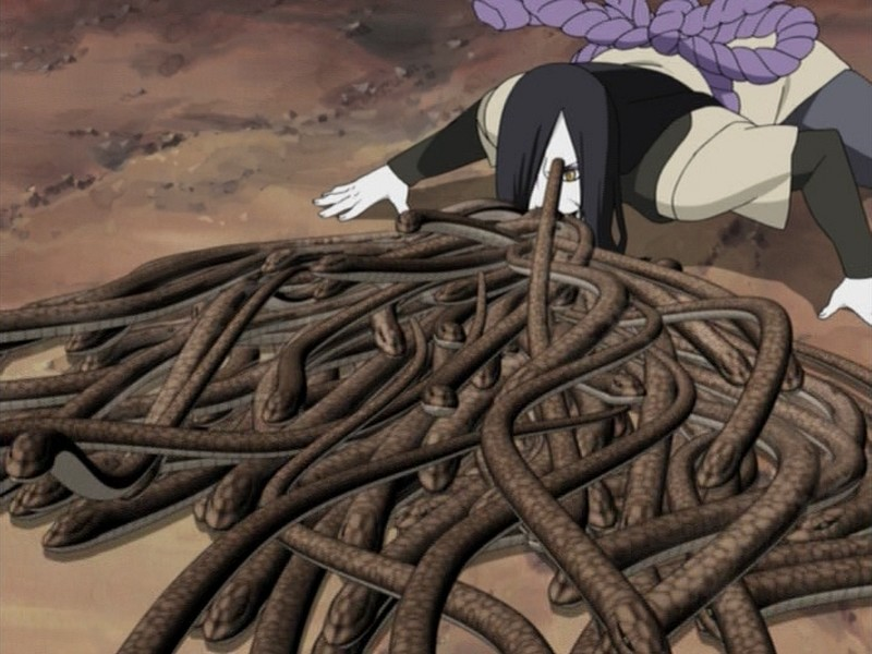 Orochimaru using his Formation of Ten Thousand Snakes technique ...