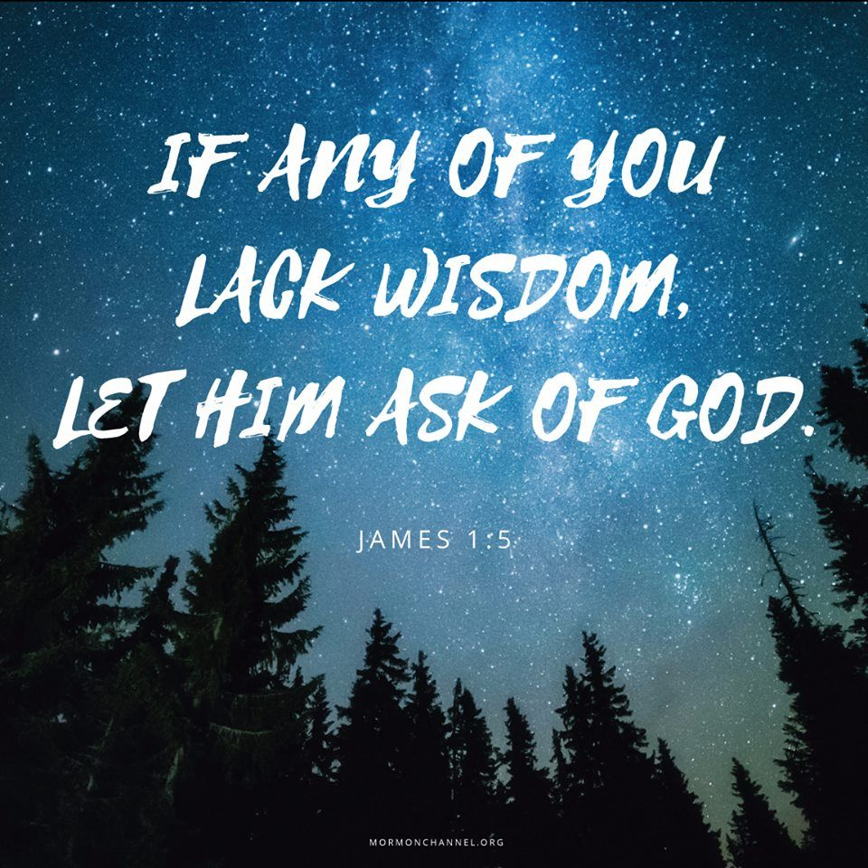 """If any of you lack wisdom, let him ask of God, that giveth to all men liberally, and upbraideth not; and it shall be given him. But let him ask in faith, nothing wavering. For he that wavereth is like a wave of the sea driven with the wind and tossed"" (James 1:5-6). http://lds.org/scriptures/nt/james/1.5-6#p4 Enjoy more inspiring images, scriptures, and uplifting messages from the Holy Bible http://facebook.com/212128295484505 #ShareGoodness"