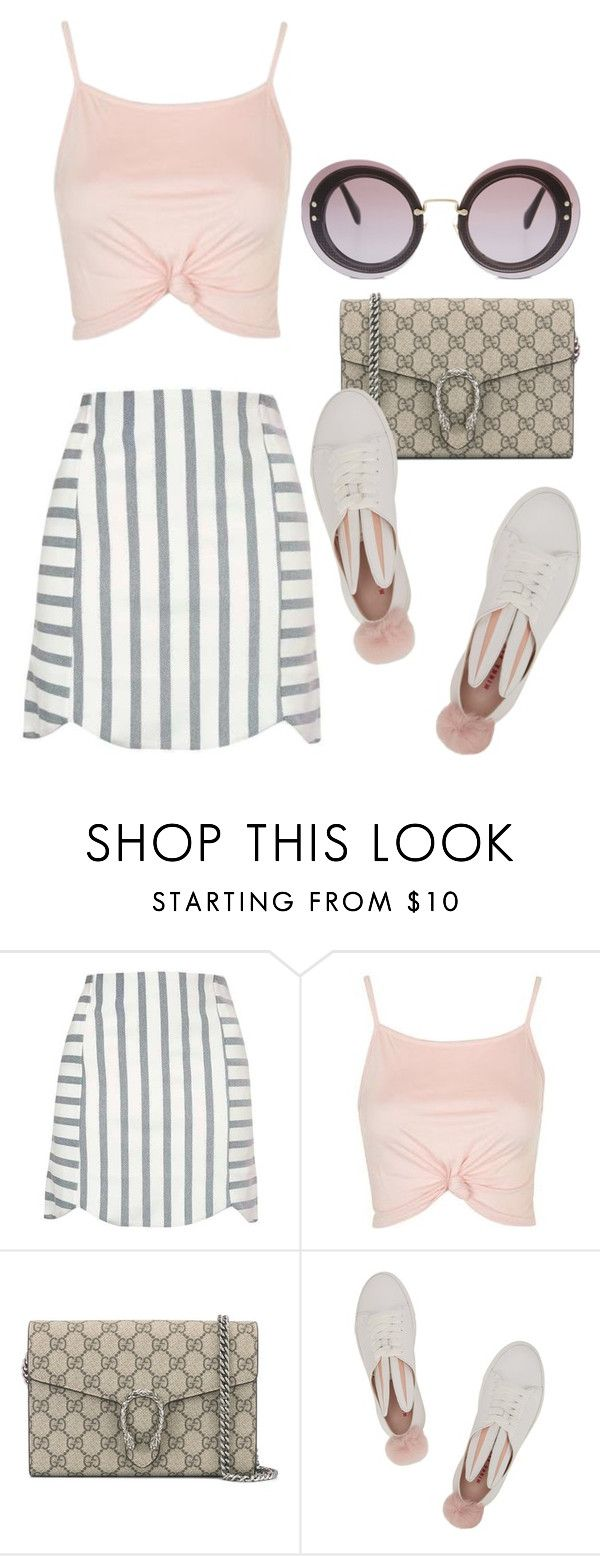 """""""Untitled #2794"""" by bekahtee ❤ liked on Polyvore featuring Topshop, Gucci, Minna Parikka and Miu Miu"""