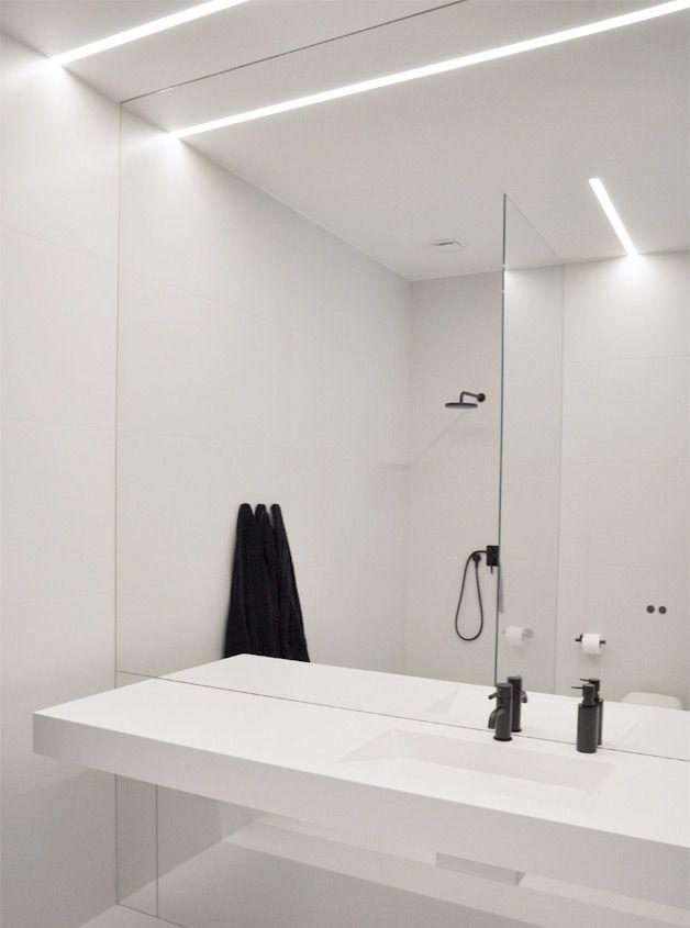PULVA minimalistic interior design minimal modern materials home homestyle - black bathroom light