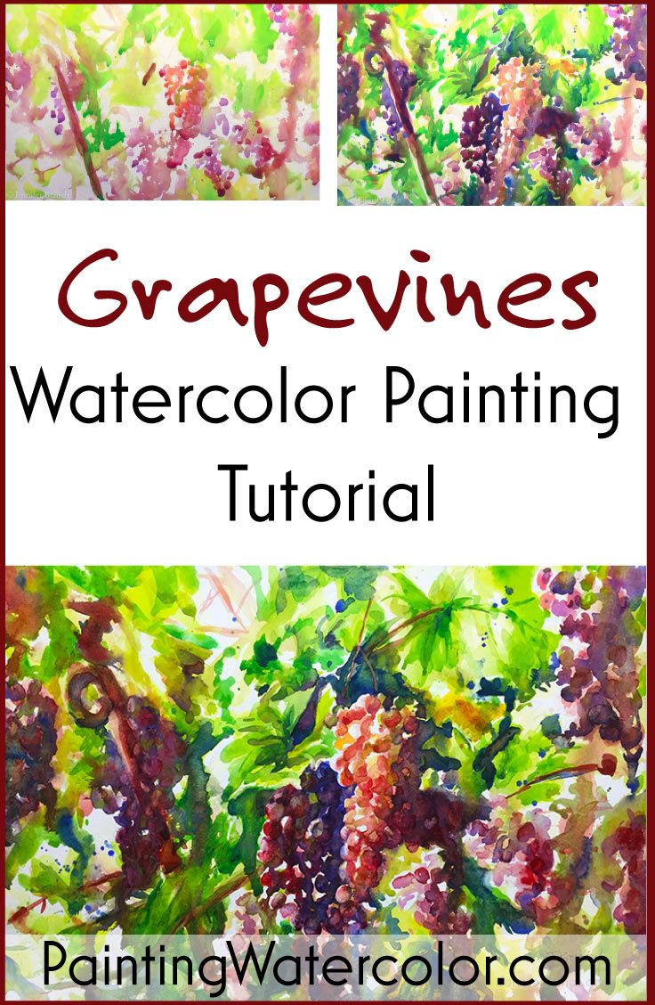 Painting Grape Vines In Watercolor Watercolor Painting Tutorial  # Muebles Jenny Scheihing