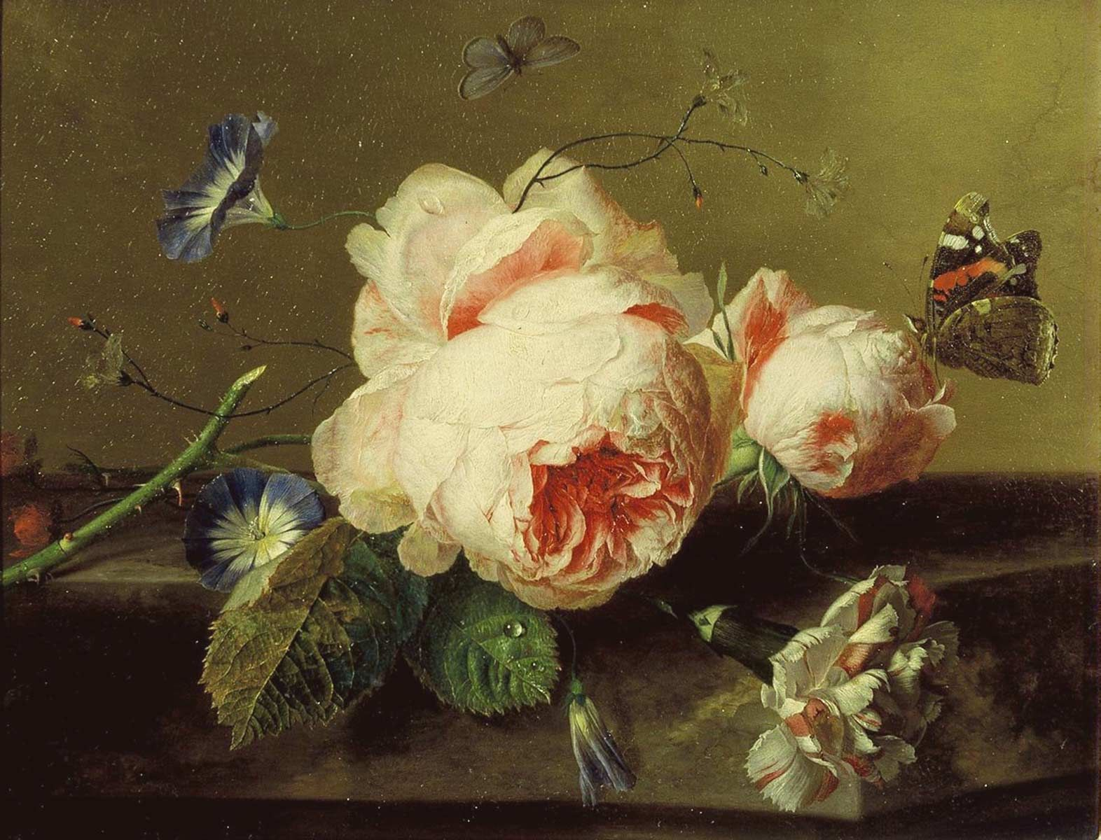 """Detail from a Jan Van Huysum still life included in """"Memory of the Netherlands"""" exhibit, Mauritshuis, The Hague."""