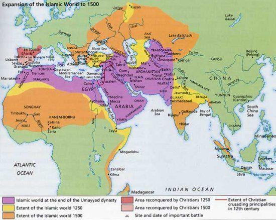 Islamic World In History Pinterest Islamic History - Blank world map 1500