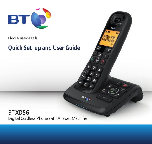Bt Xd56 Digital Cordless Phone User Guide Cordless Phone Phone User Guide