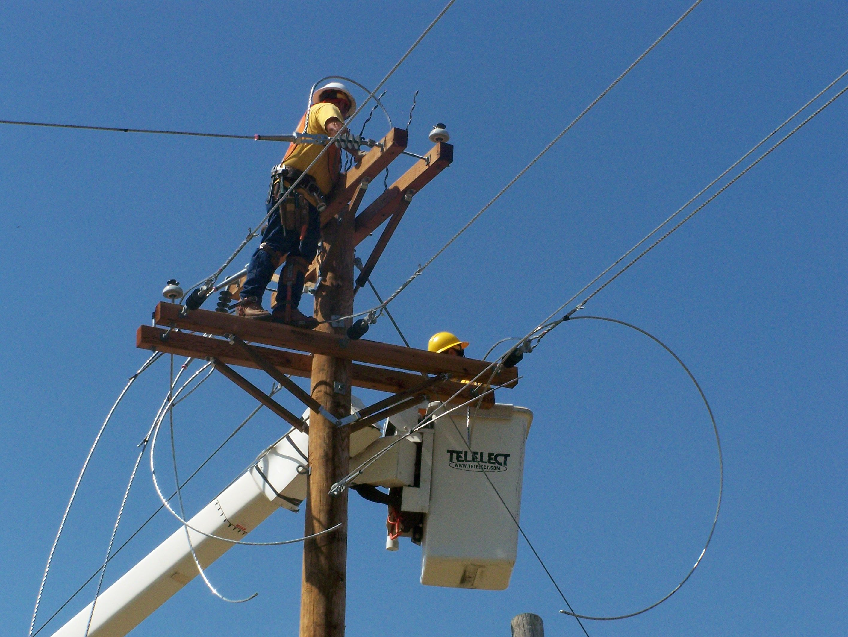 The electric distribution department has twelve employees that construct, operate and maintain over 150 miles of overhead and underground power lines and electric delivering equipment. Description from cityofwellington.net. I searched for this on bing.com/images
