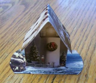 Clever Little House Ornament Made From A Holiday Card Recycle Christmas Cards Greeting Card Craft Christmas Card Crafts
