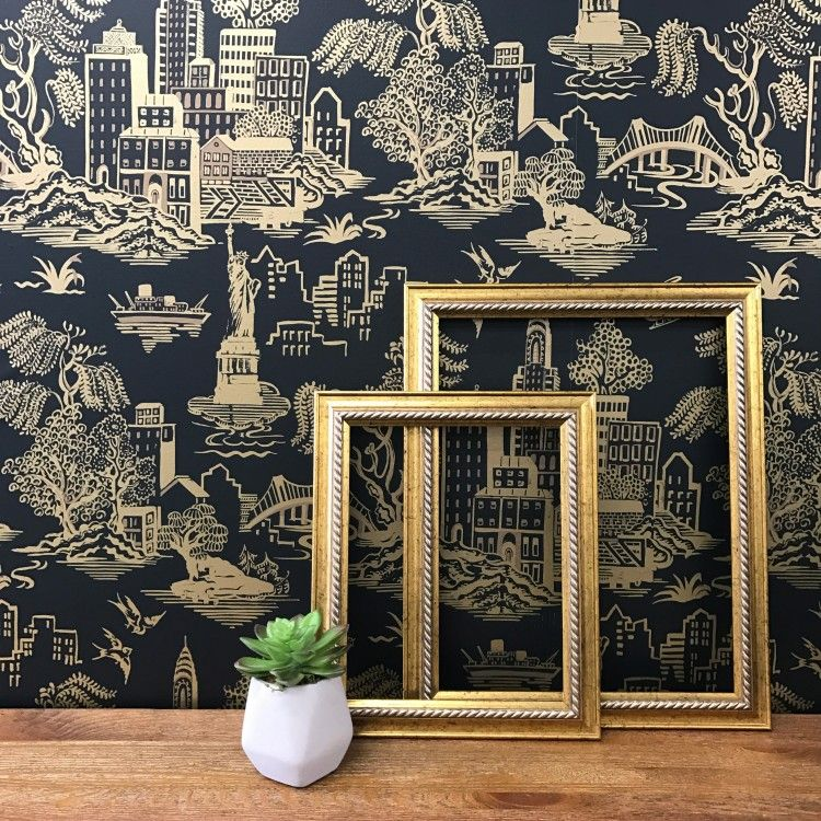 New York Toile Wall Wallpaper Removable Wallpaper Gold Wallpaper For Walls