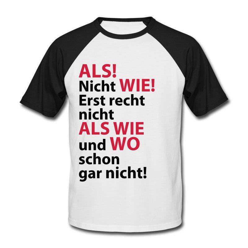 Warum ich grinse... Kopfkino! | ALS! Nicht WIE! Erst recht nicht ALS WIE und WO sc - Männer Baseball-T-Shirt #fridayquotes