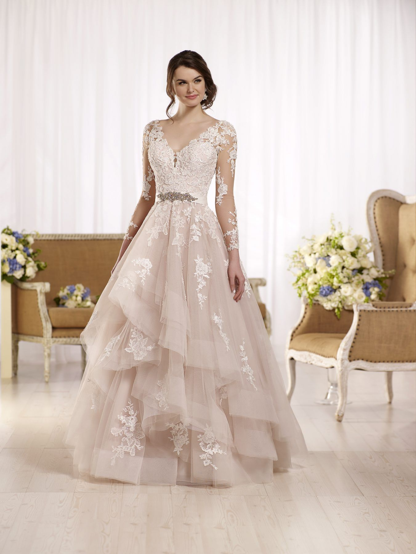Long Sleeve Illusion V Neckline Lace Ball Gown Wedding Dress With Attached Beaded Belt Kleinfeld Bridal Essense Of Australia Wedding Dresses Wedding Dress Sleeves Wedding Dresses