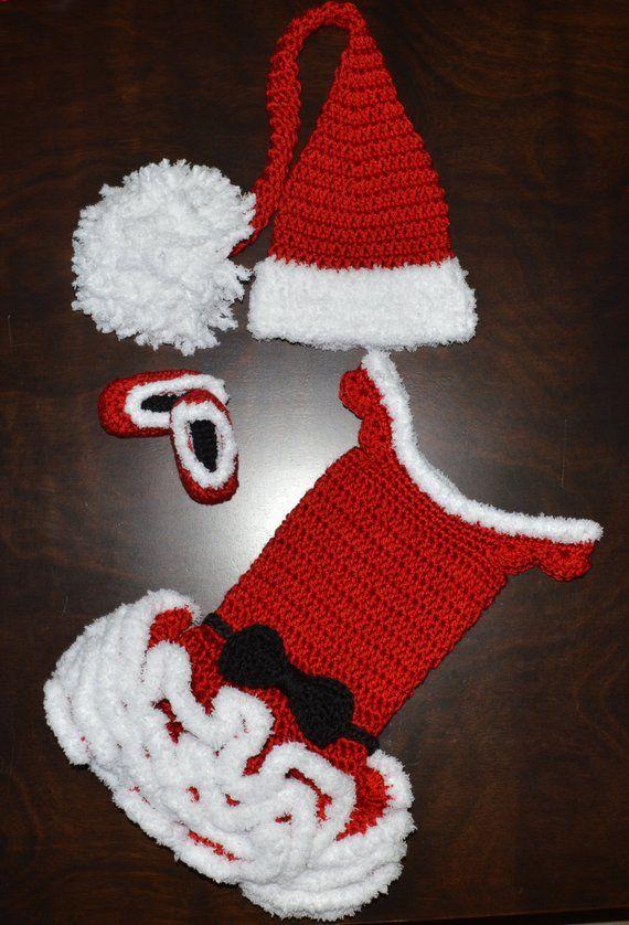 835478df9 Crochet Santa or Mrs. Claus Christmas Tutu Dress & Matching Long Tail Hat  and Shoes Baby Handmade Ph