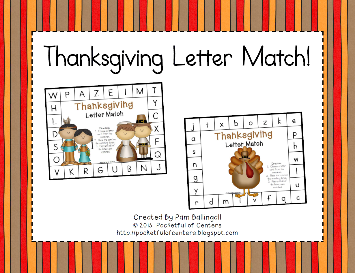Thanksgiving Letter Match Game Free