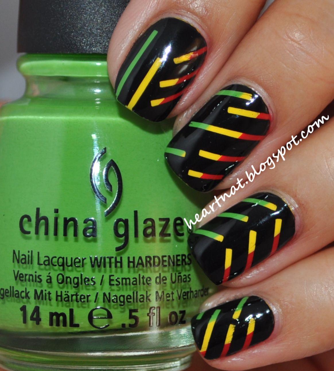 heartNAT: Rasta Stripes Reggae nail art, striping tape, colorful ...