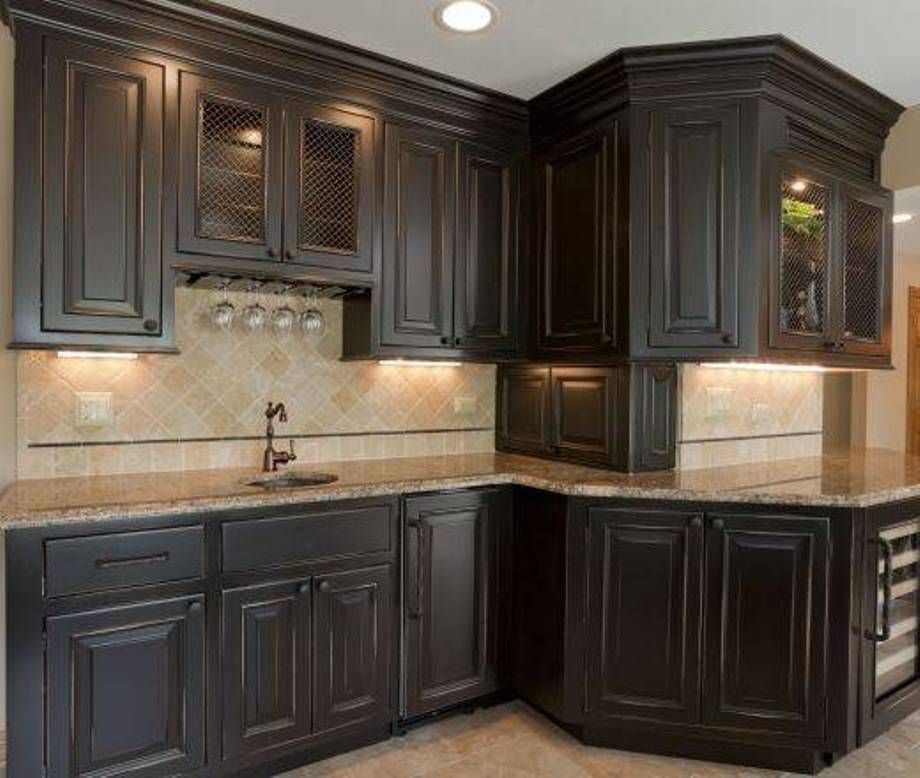 Furniture , Suave Distressed Black Kitchen Cabinets : Distressed Black  Kitchen Cabinets With Round Sink And