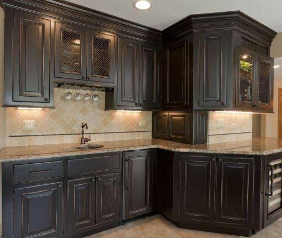Furniture Suave Distressed Black Kitchen Cabinets