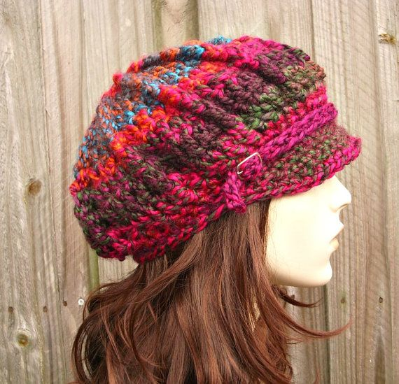 Crochet Hat Womens Hat Newsboy Hat - Spring Monarch Ribbed Crochet ...