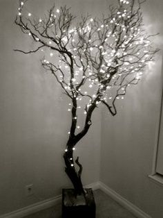 Christmas Tree Ideas Bare Trees Or Branches Set In Cement Decorate And Place In The Yard Patio Area Along The Drive Or Decor Branch Chandelier Home Decor